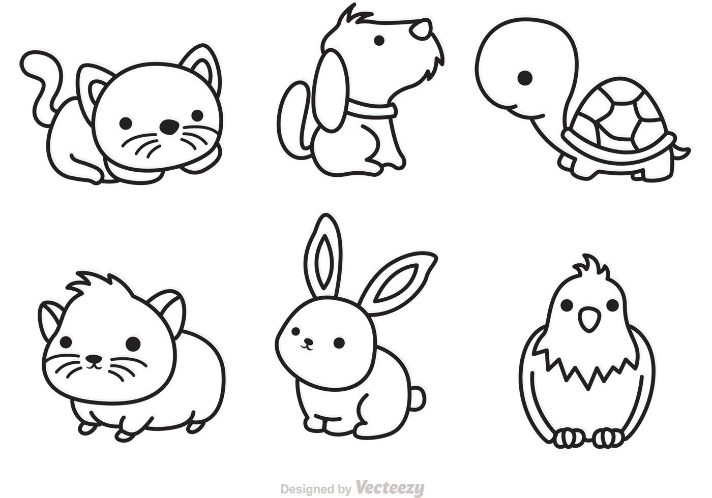 Cute Pets Outline Vector