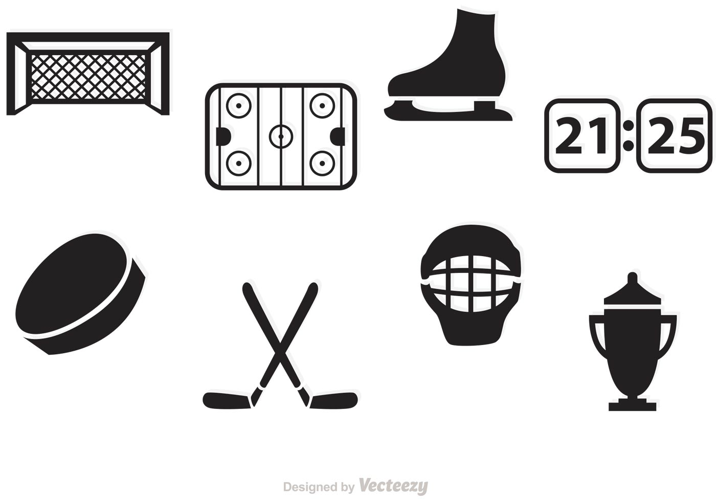 Black Hockey Vector Icons
