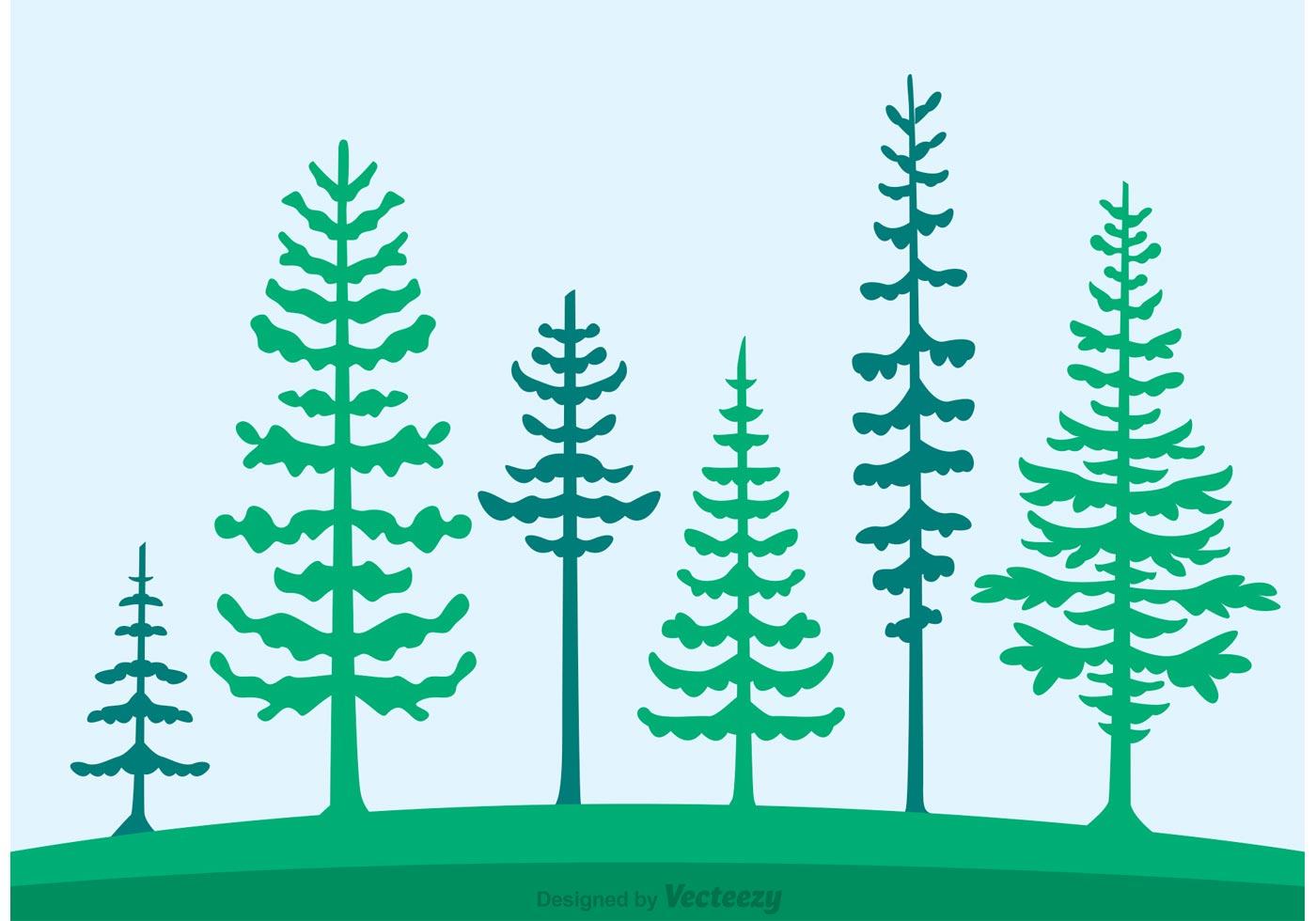 Cedar Trees Silhouette Vector Download Free Vector Art
