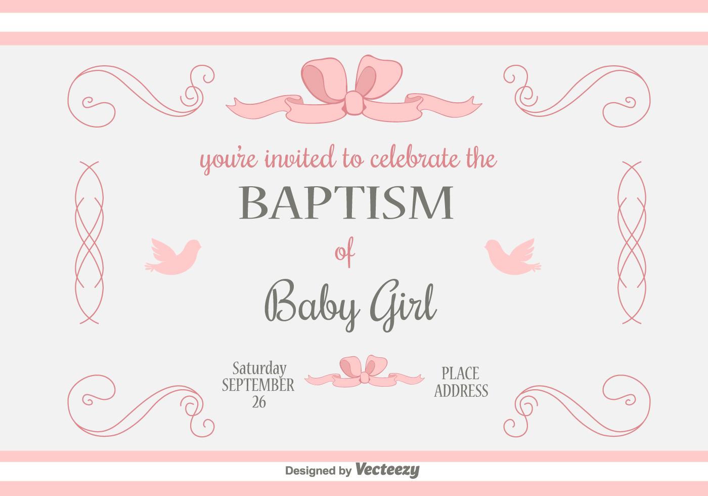 Simple Invitation Card Christening