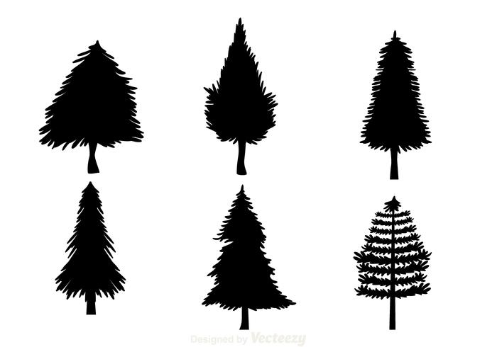 Black Christmas Tree Silhouettes Download Free Vector