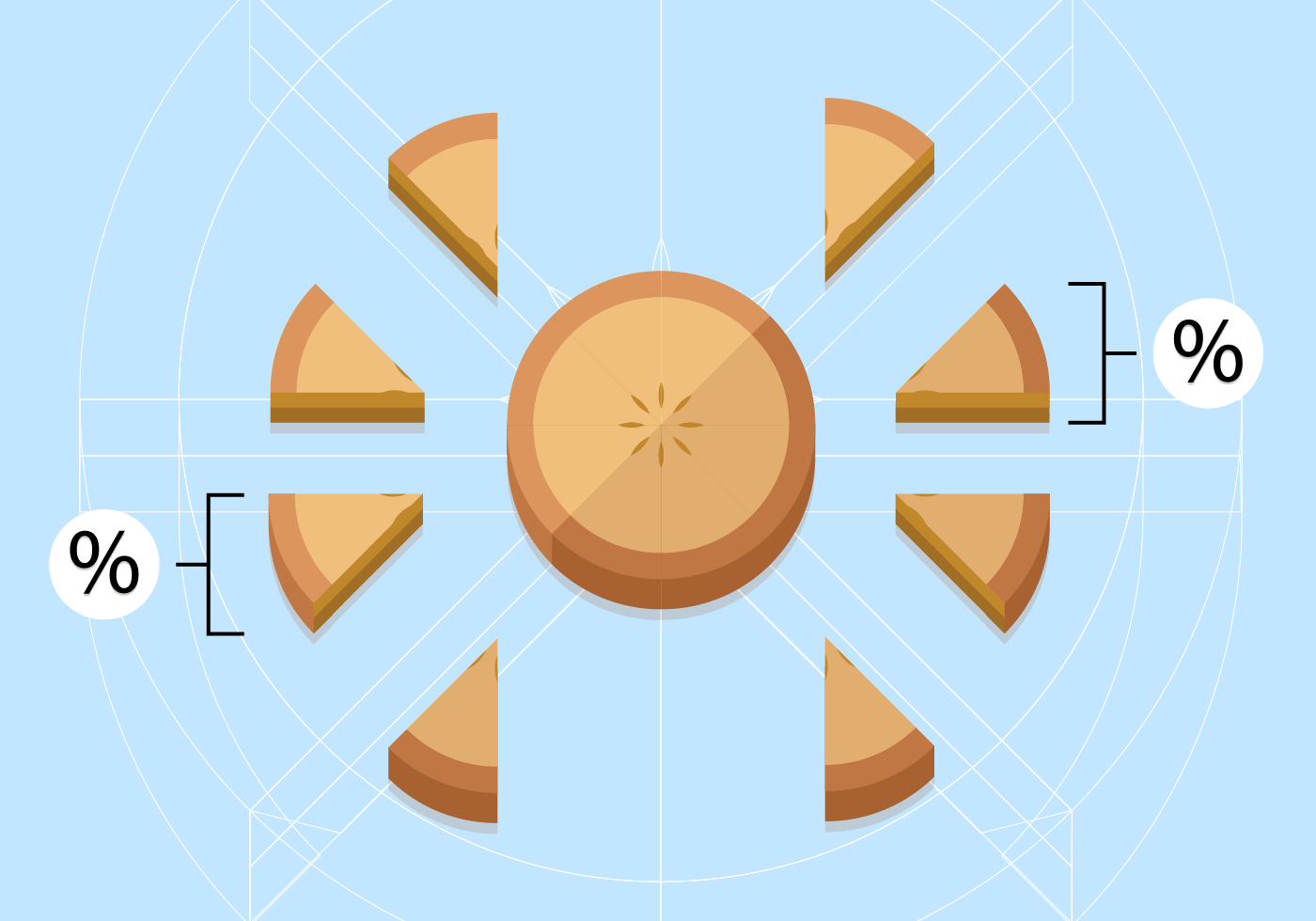 Apple Pie Pieces Chart Vector