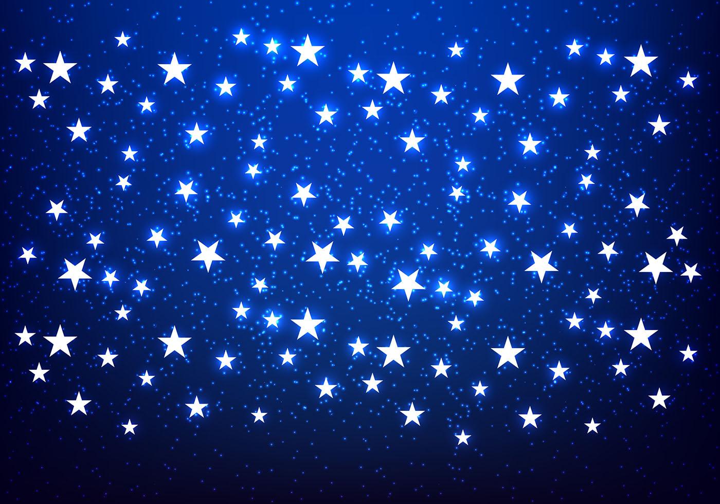 Shiny Stars Blue Background Vector