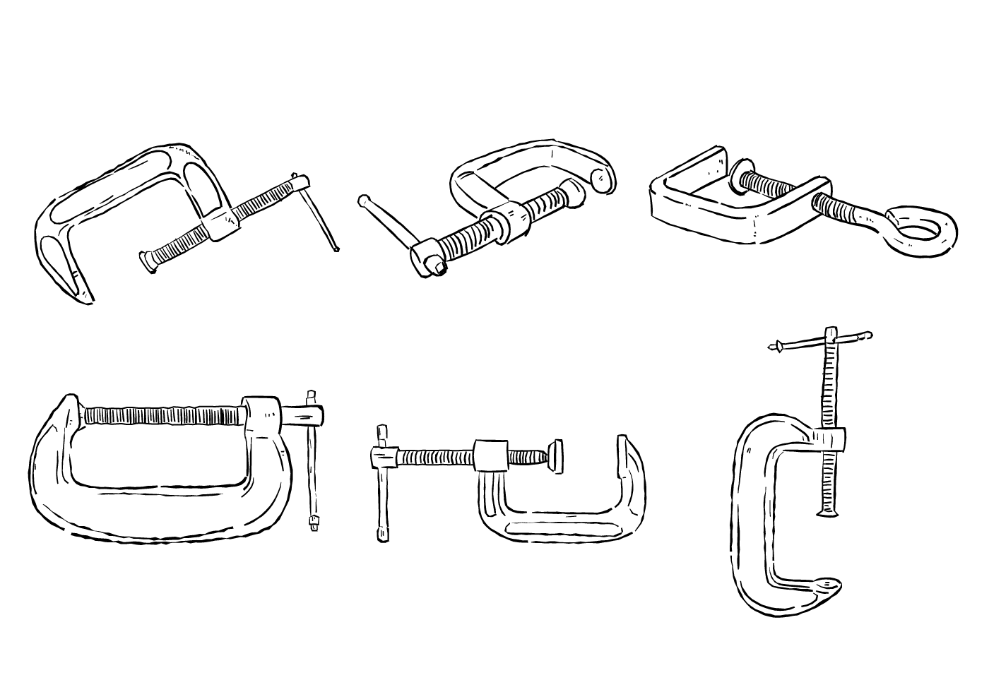 Scribble C Clamp Vector Set