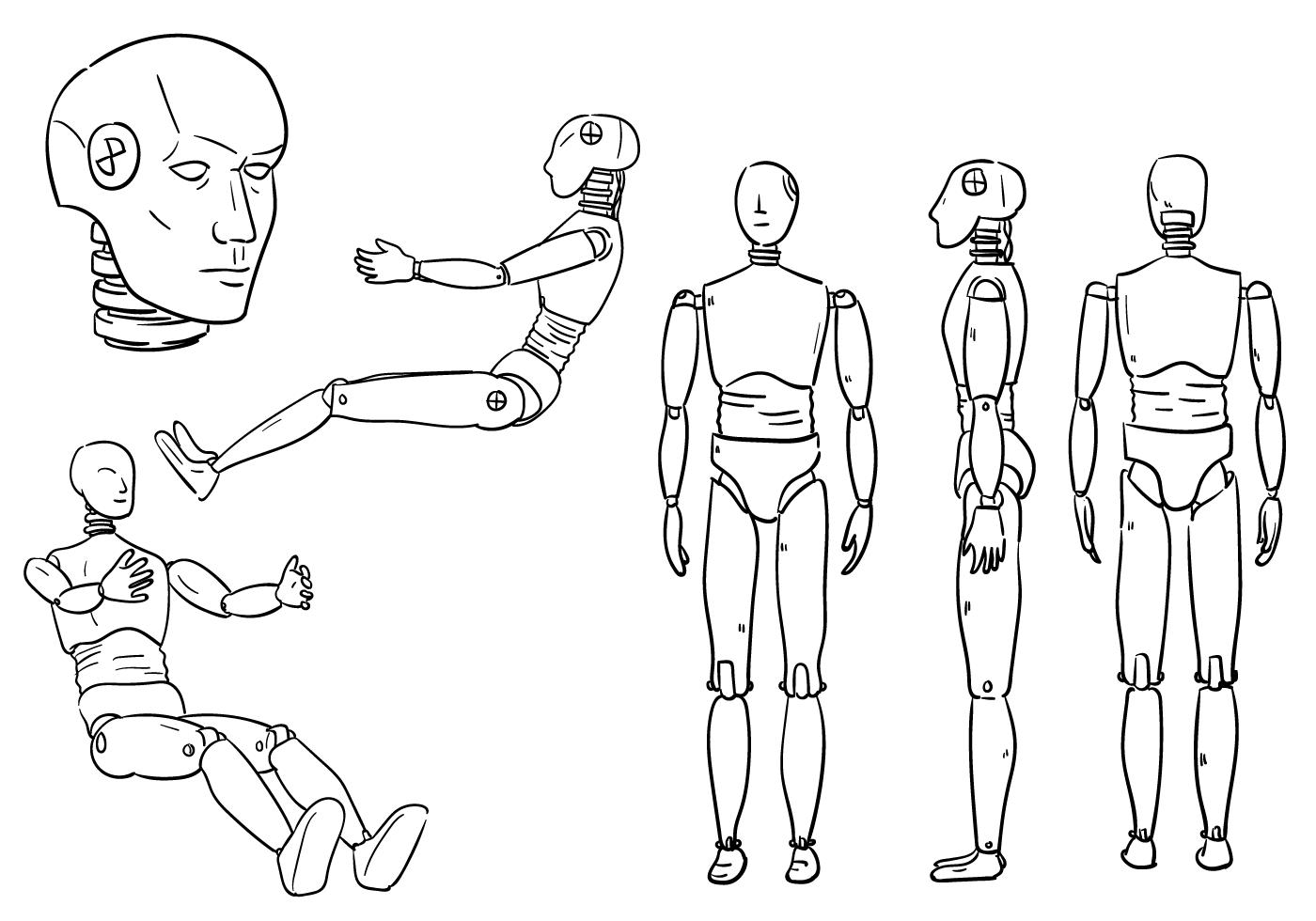 Crash dummy outlines