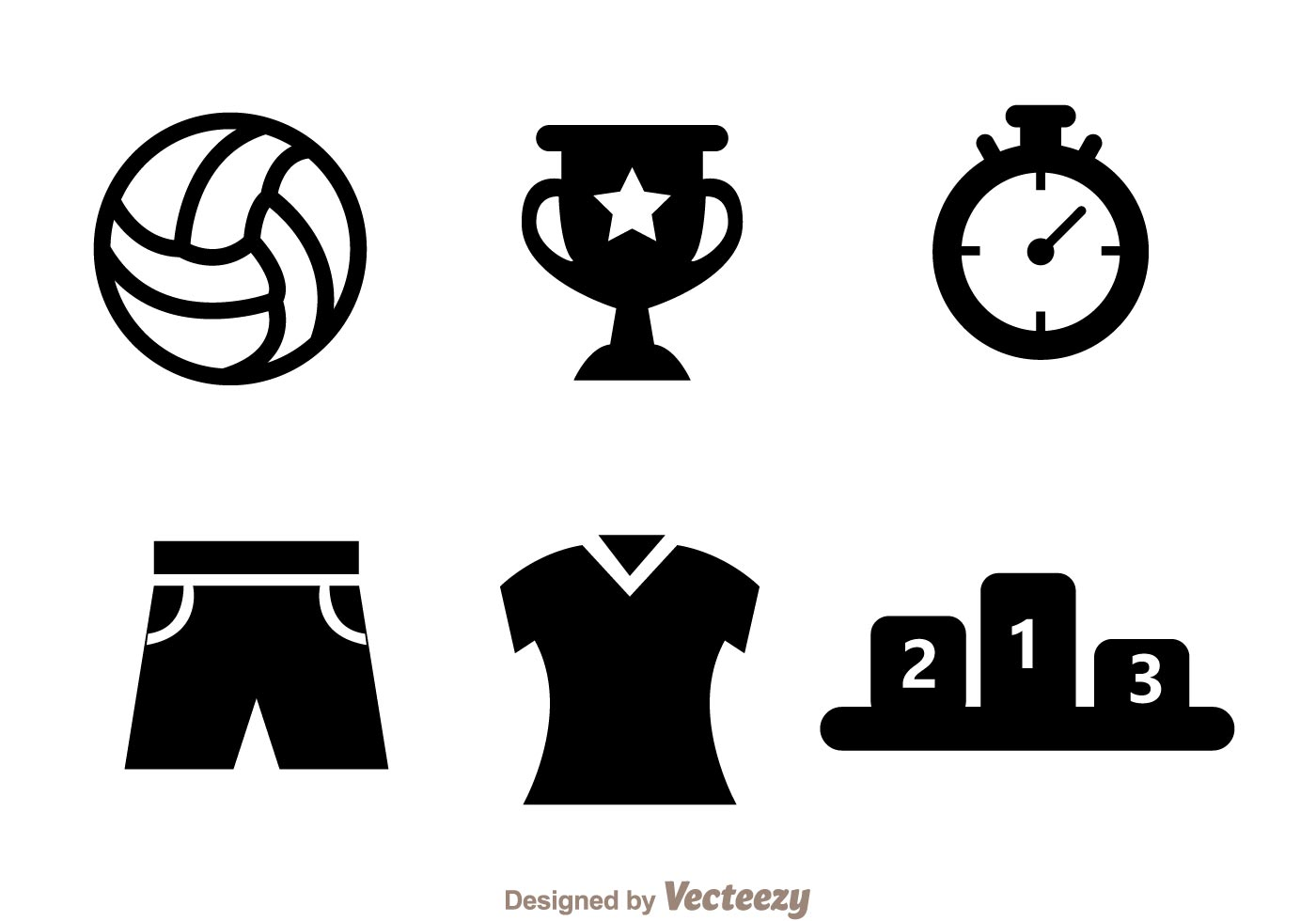 Volleyball Black Icon Vectors