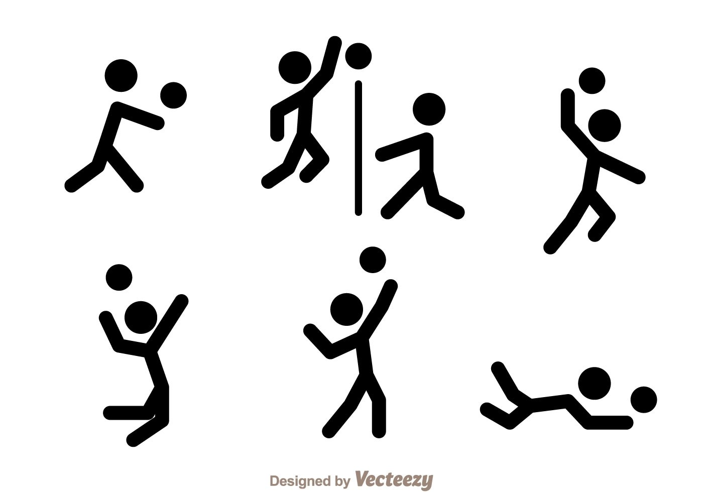Volleyball Stick Figure Vector Icons