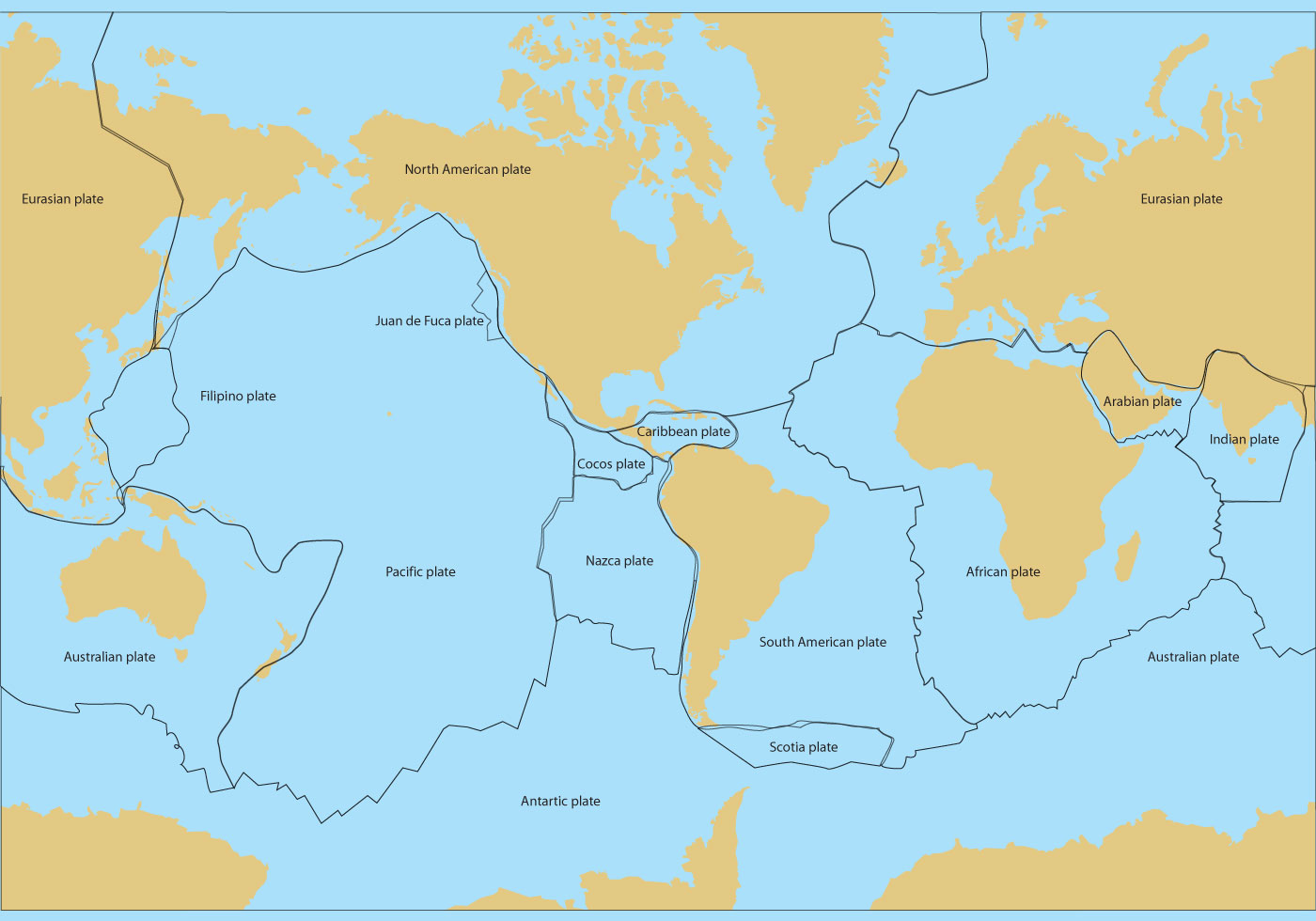Tectonic Plates Map Vector
