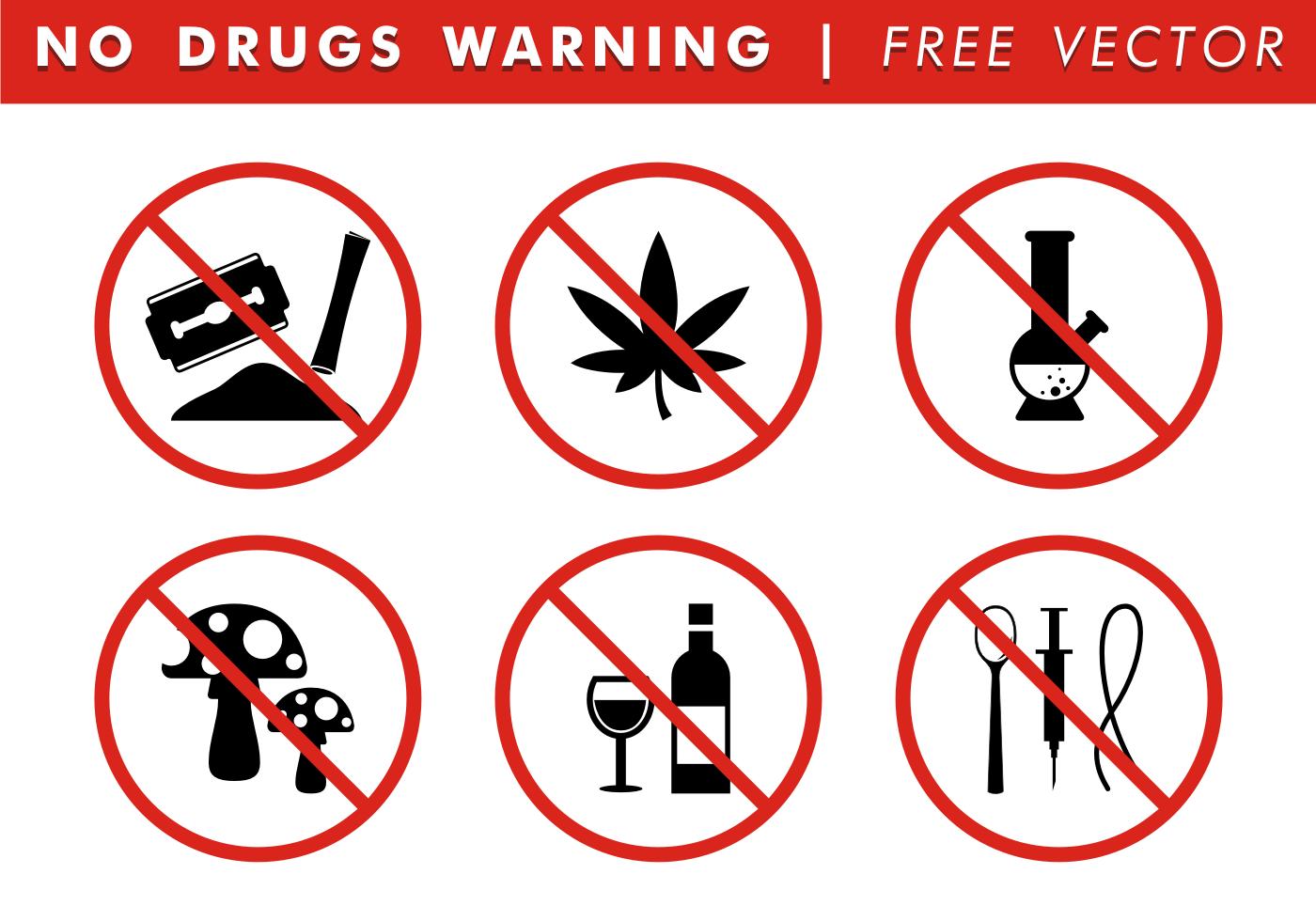 No Drugs Warning Free Vector