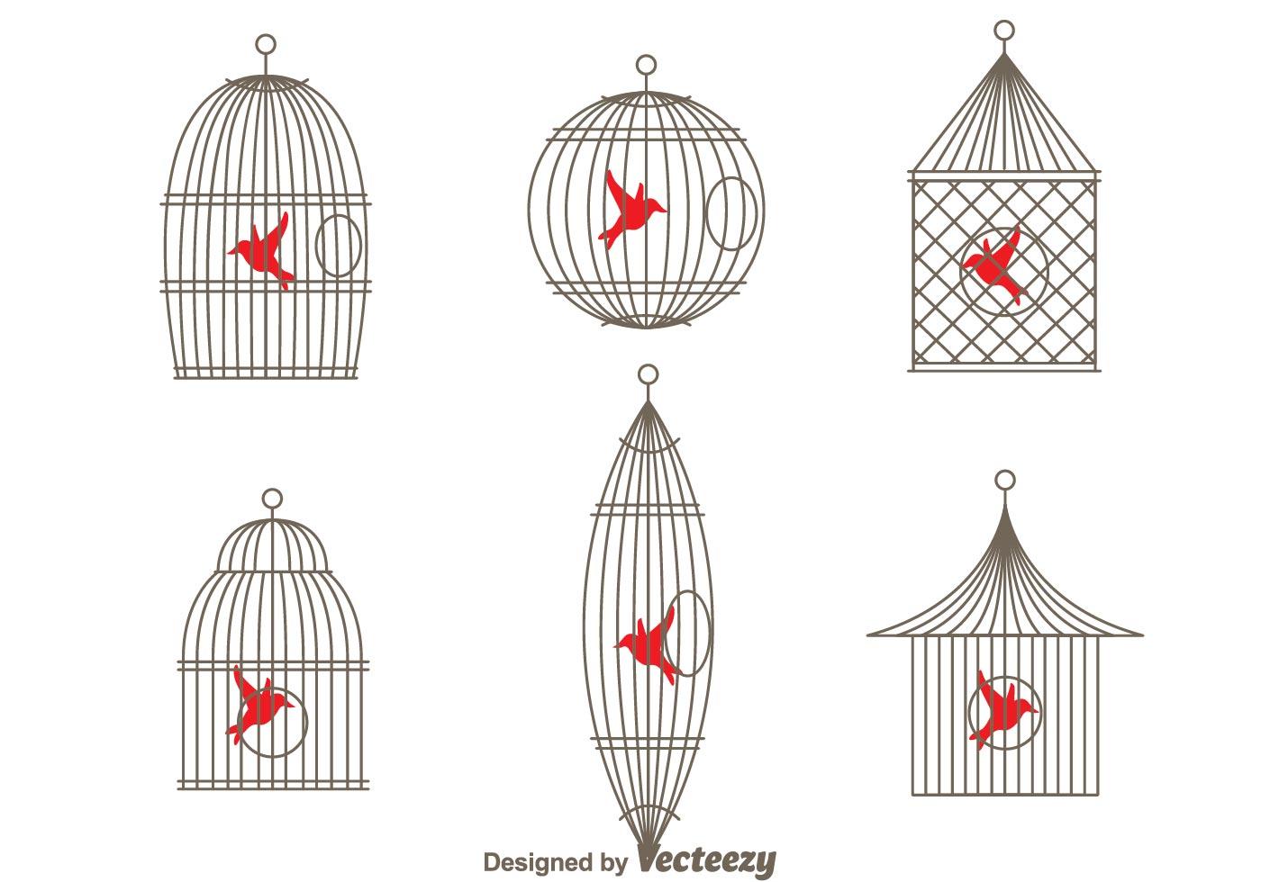Vector Simple Vintage Bird Cage