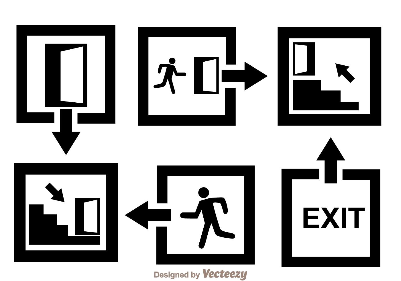 Black Exit Icons