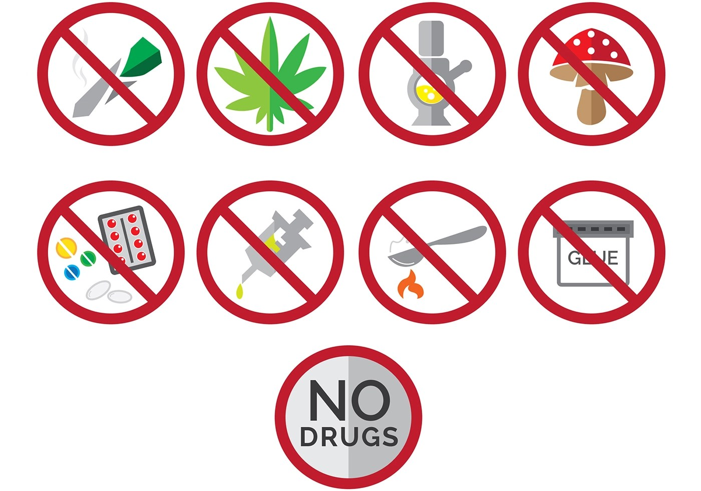 Say No To Drugs Icons