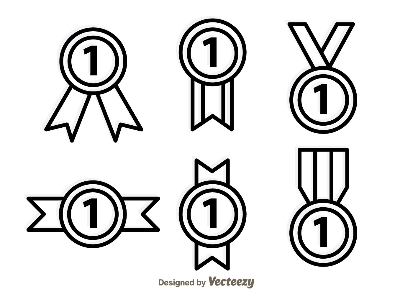 First Place Ribbon Outline Icons
