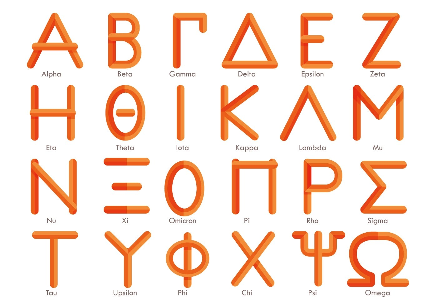 Modern Greek Alphabet Vector
