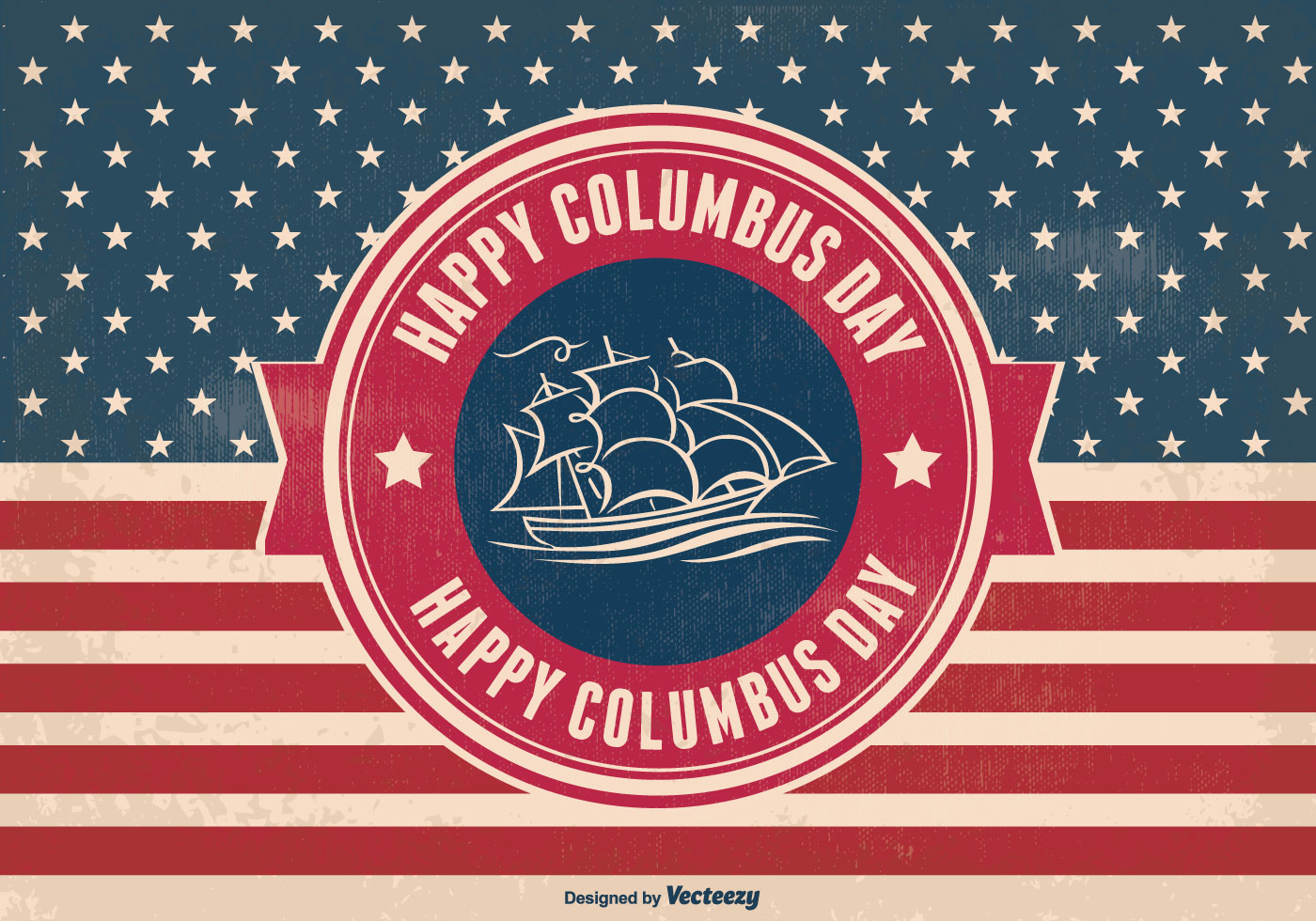 Columbus Day Retro Style Illustration Download Free