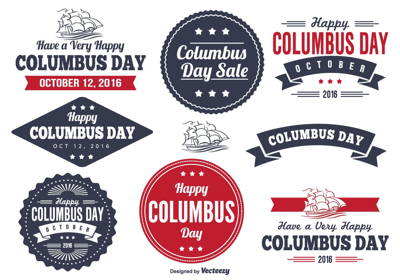 Columbus Day Label Set