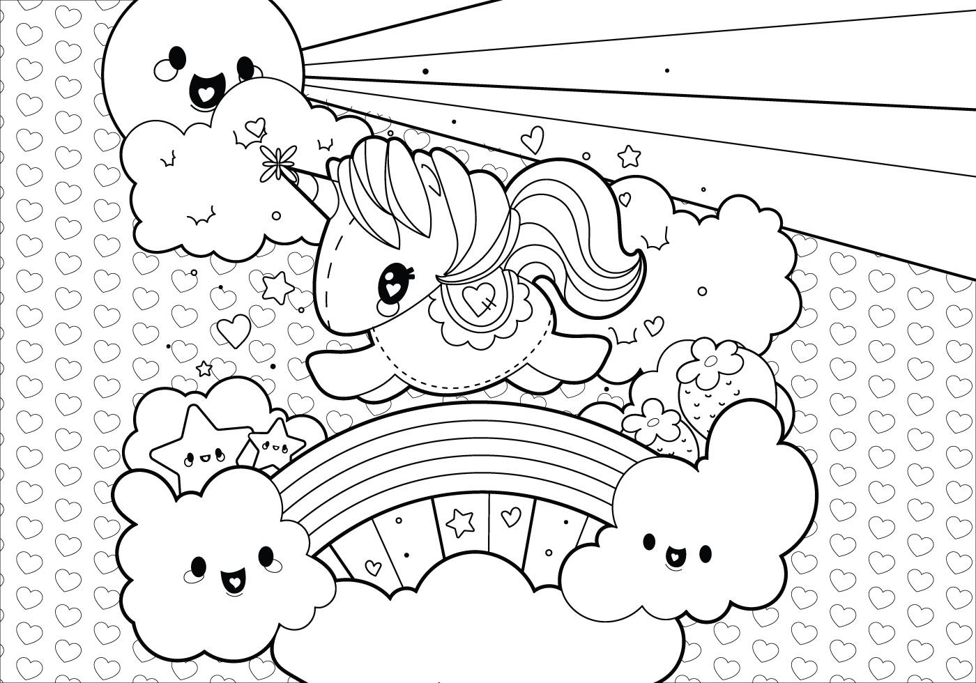 Rainbow Unicorn Scene Coloring Page Vector