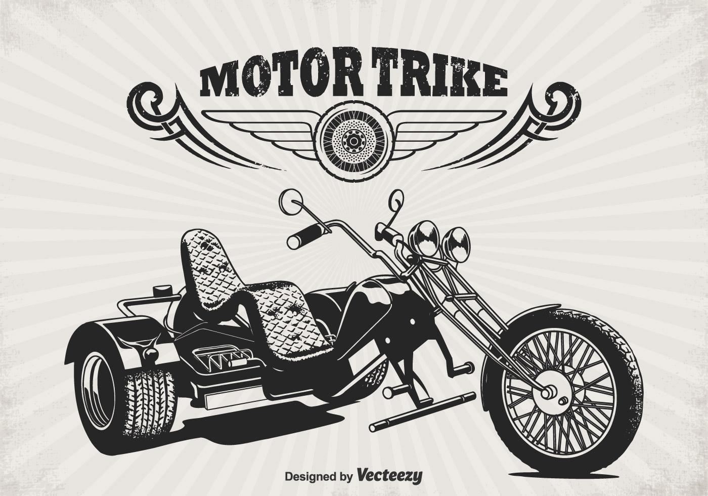 Retro Motor Trike Vector Poster