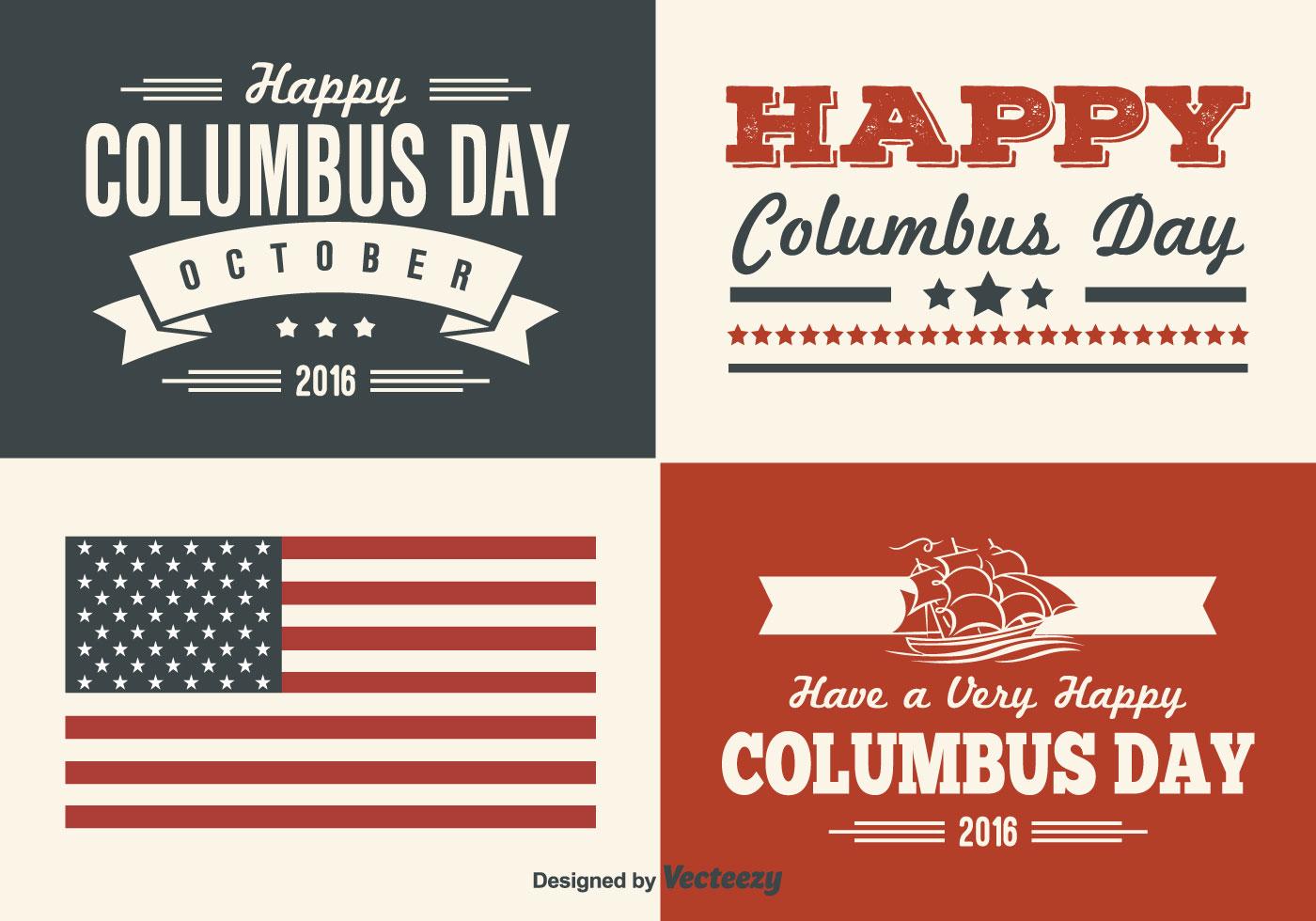 Columbus Day Retro Style Label Set