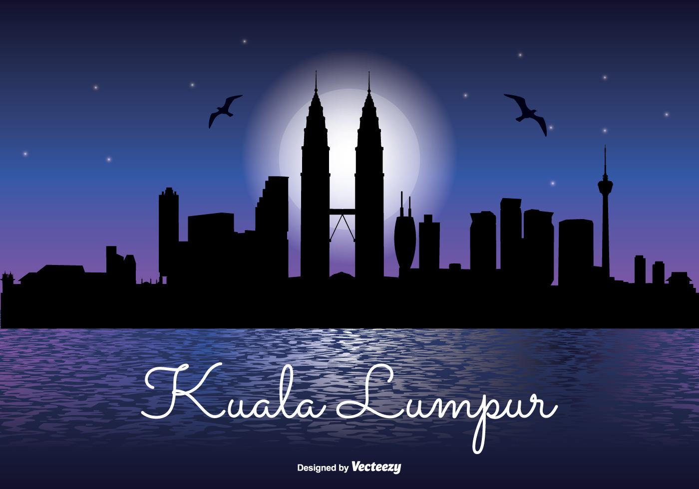 Kuala Lumpur Night Skyline Illustration Download Free Vector Art Stock Graphics Amp Images
