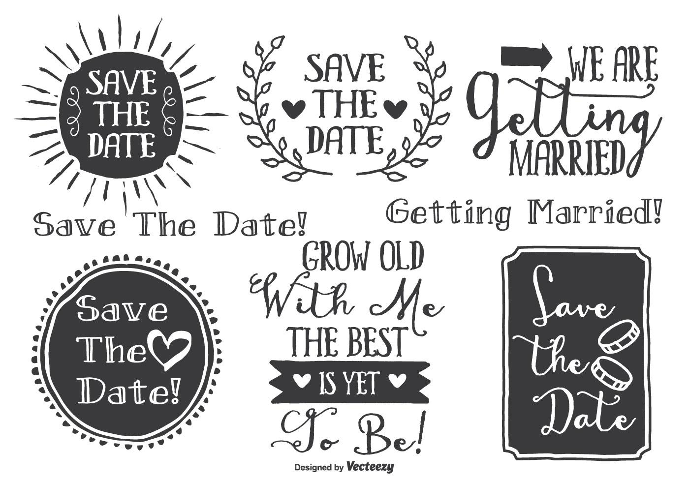 Hand Drawn Style Wedding Label Set