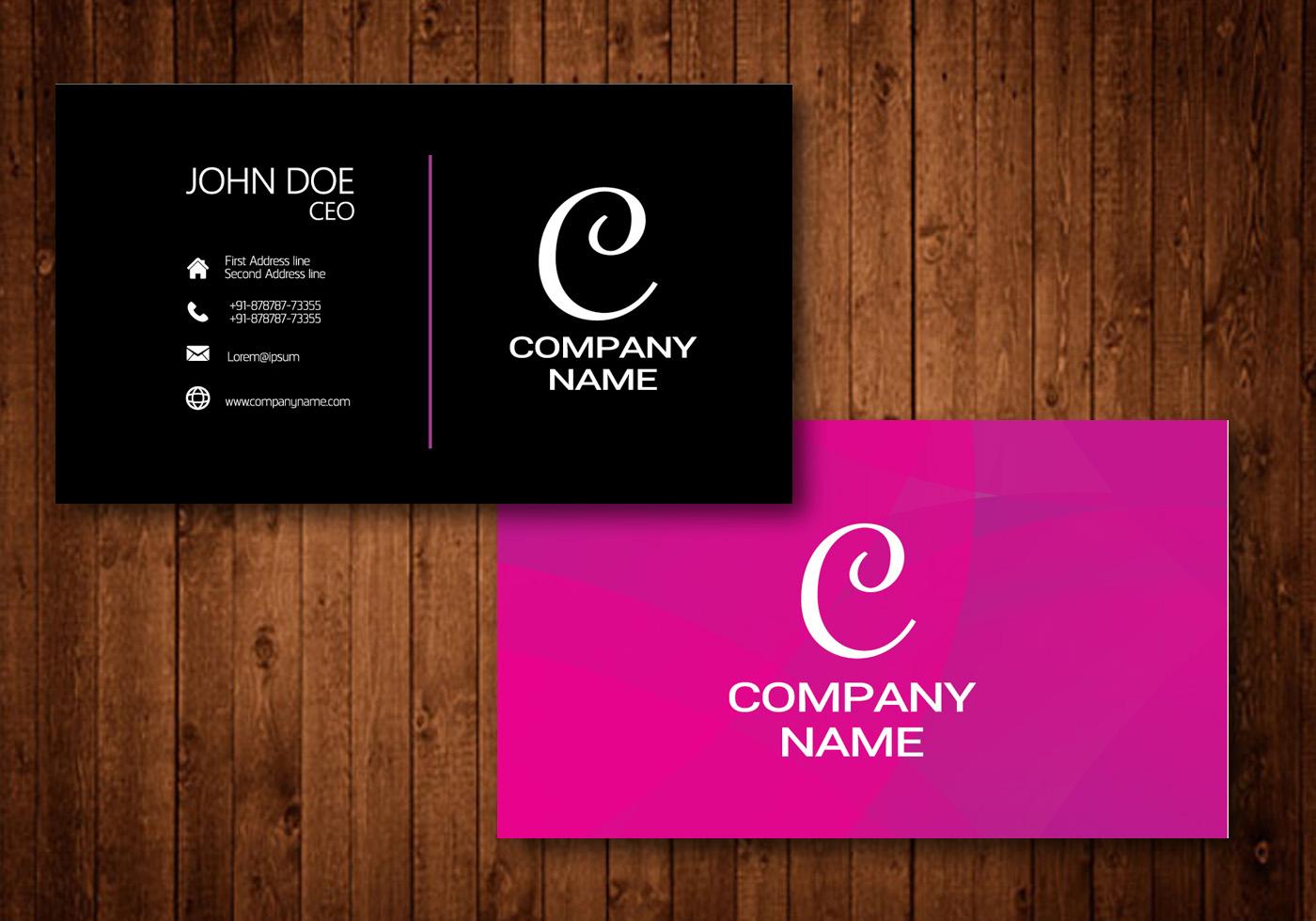 Card Business White Black Blank