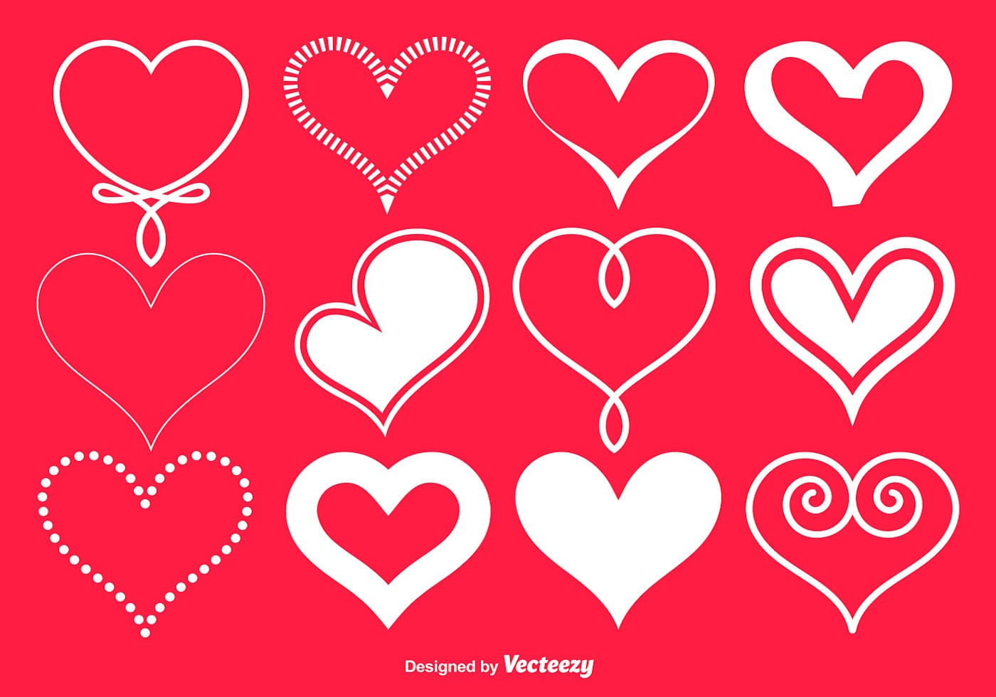 Vector White Hearts Collection Download Free Vector Art