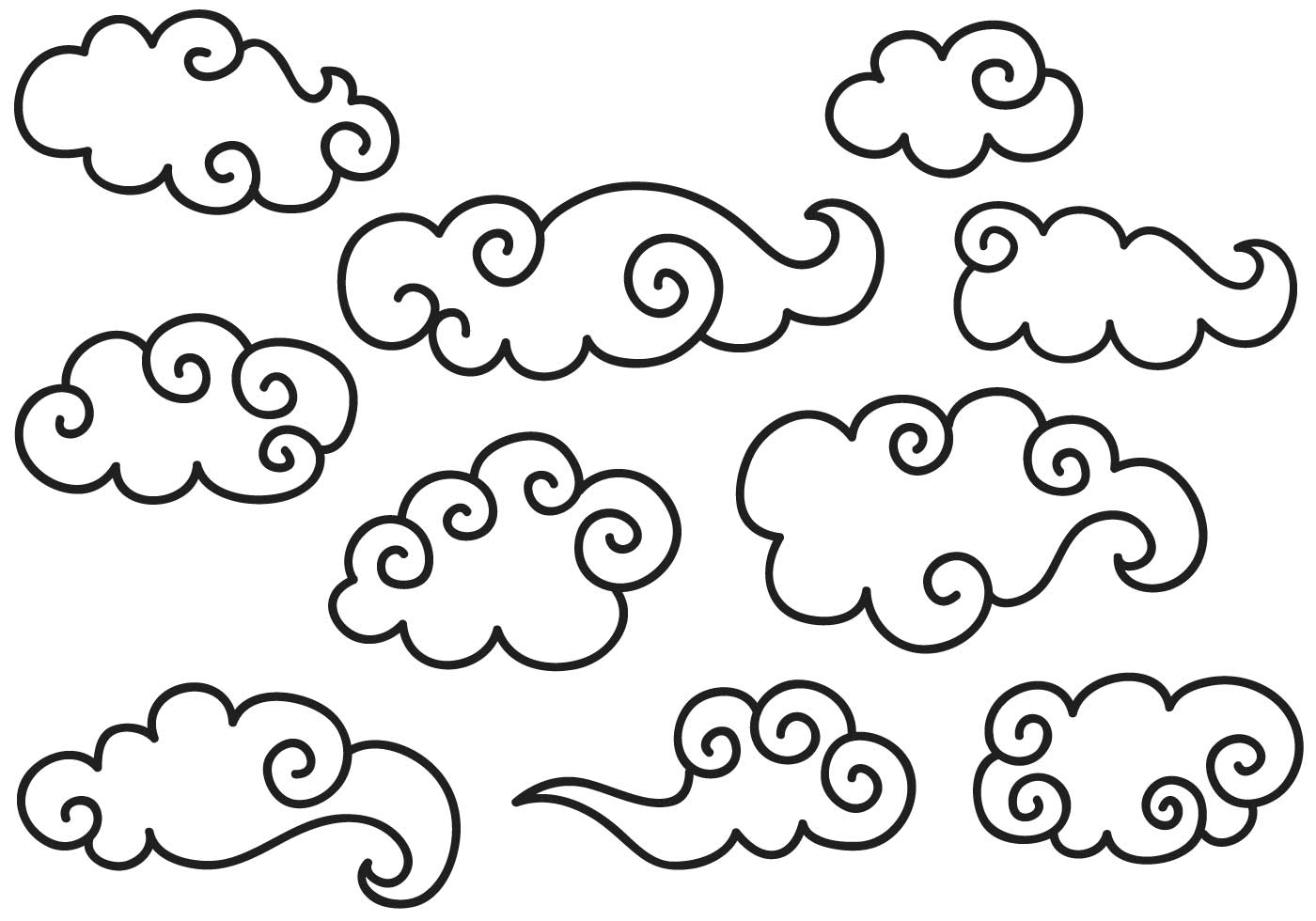 Chinese Clouds Free Vector Art