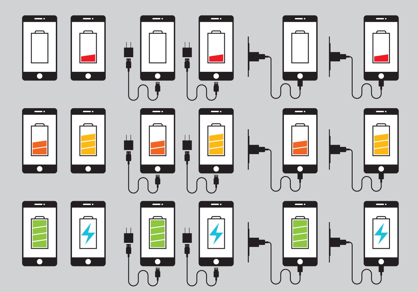 Phone Charger Icons Vector