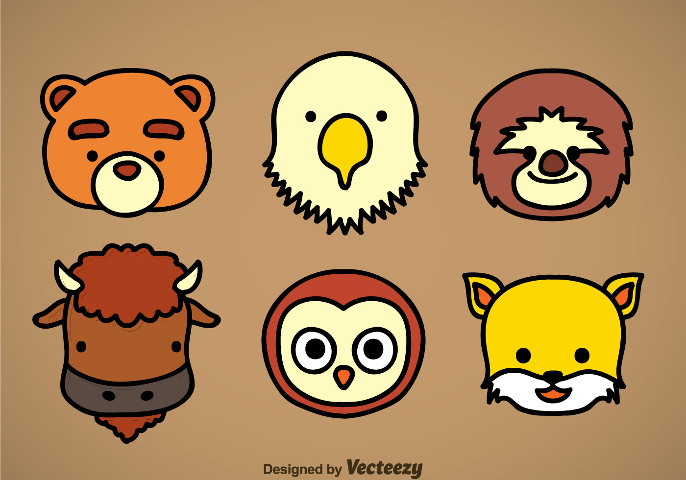 Cute Animal Head Icons Vector Sets Download Free Vector