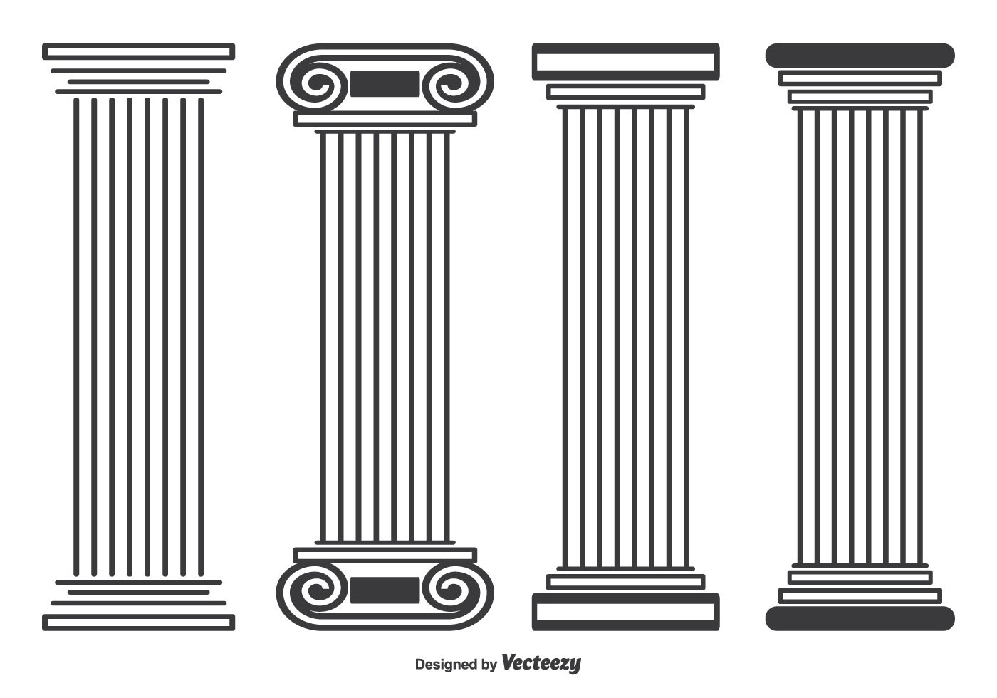 Roman Stayle Pillar Vector Shapes