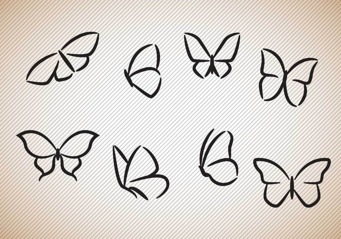 Download Free Butterflies Silhouettes Vector - Download Free Vector ...