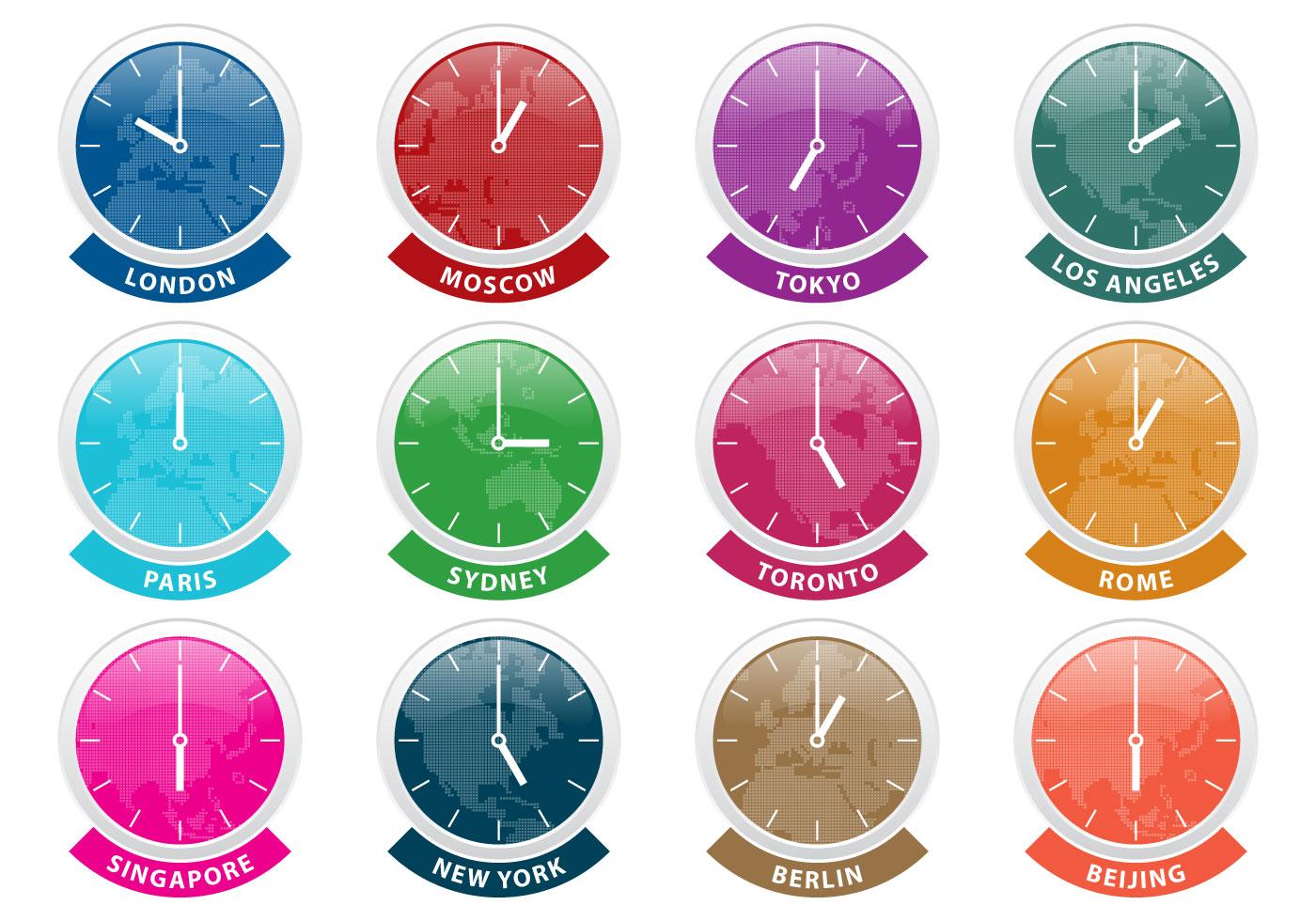 International Time Zone Clock Vectors