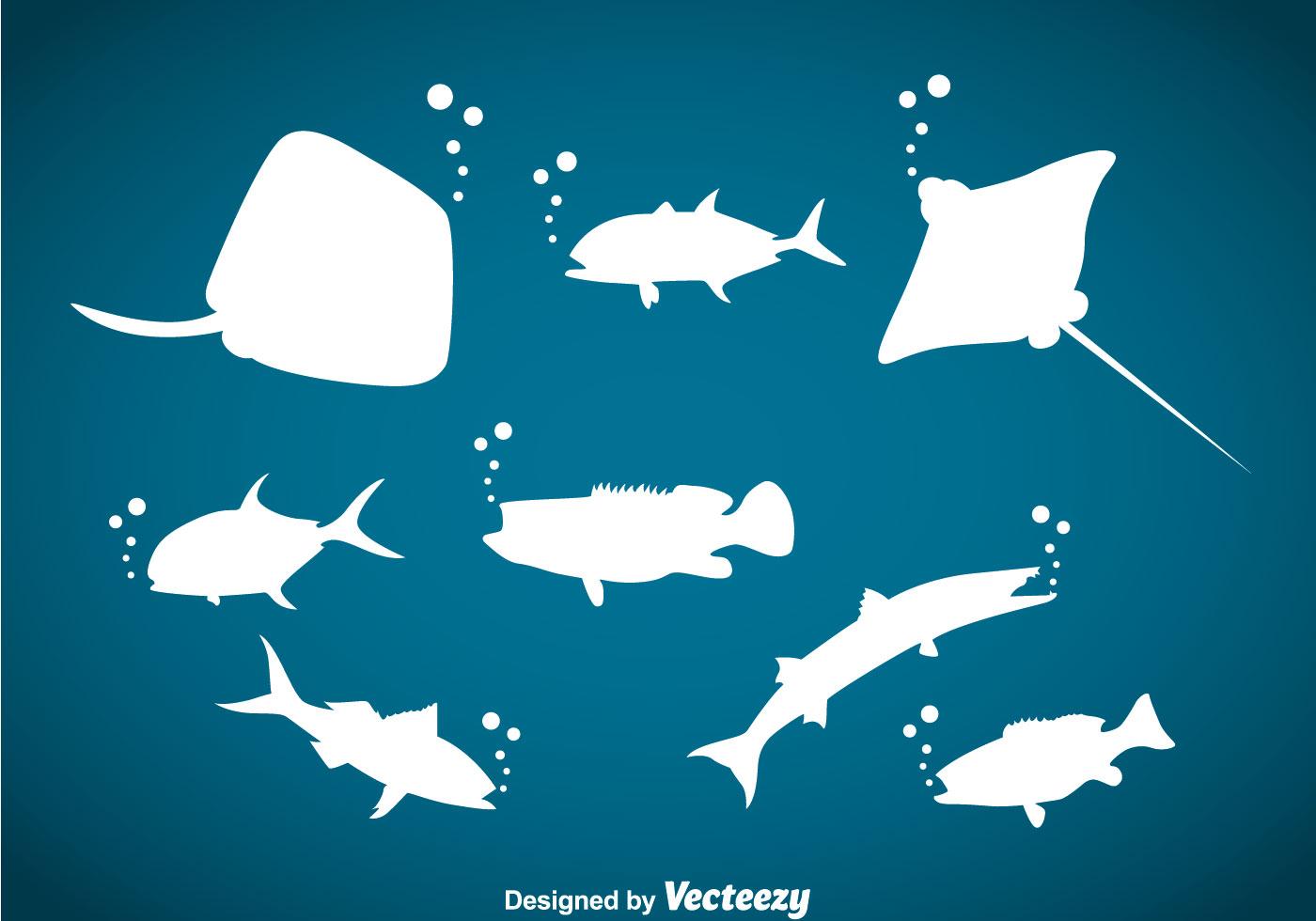 Ocean Animals Silhouette Vector