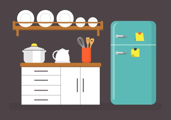 Flat Kitchen Vector Illustration Art Stock
