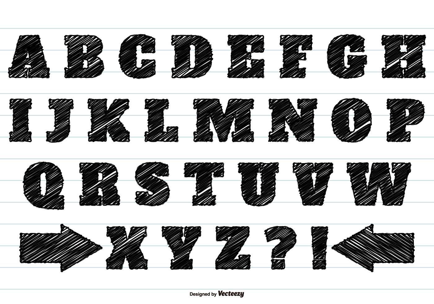 Black Scribble Alphabet Set