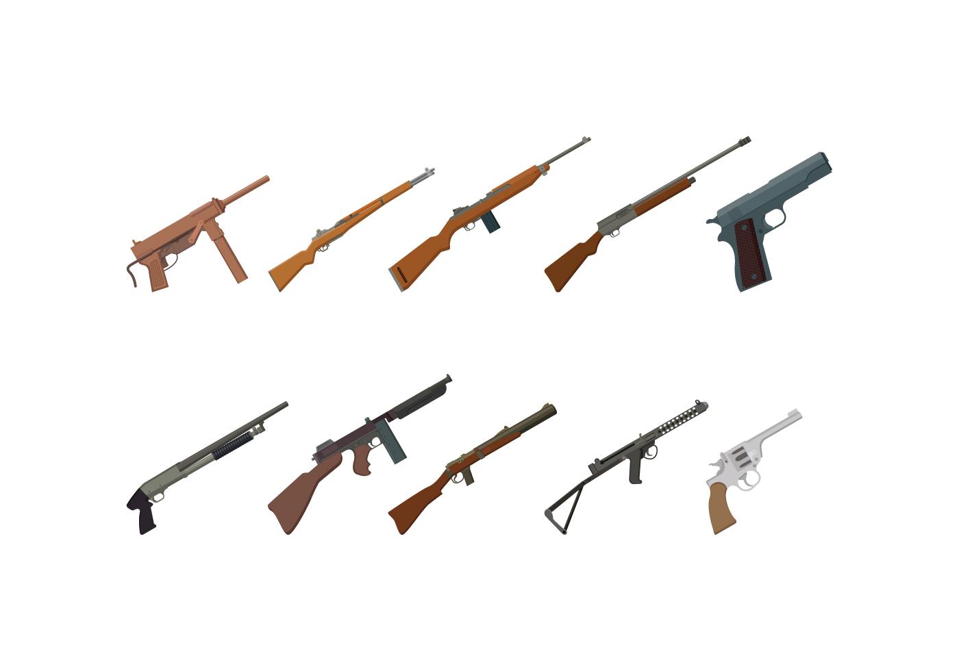 World War 2 Gun Vectors