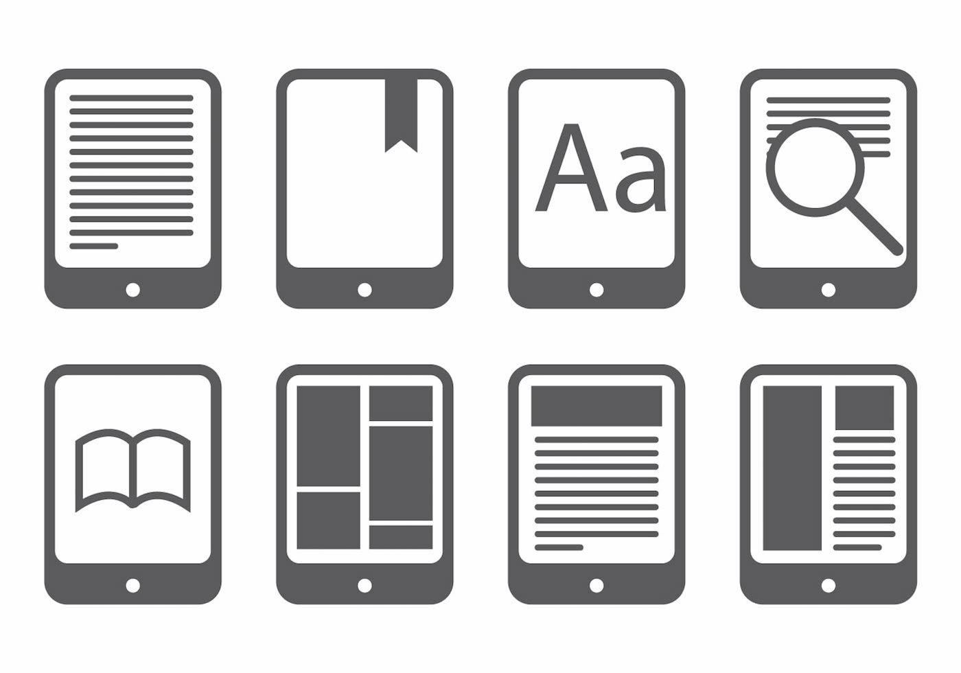 E Reader Icon Set