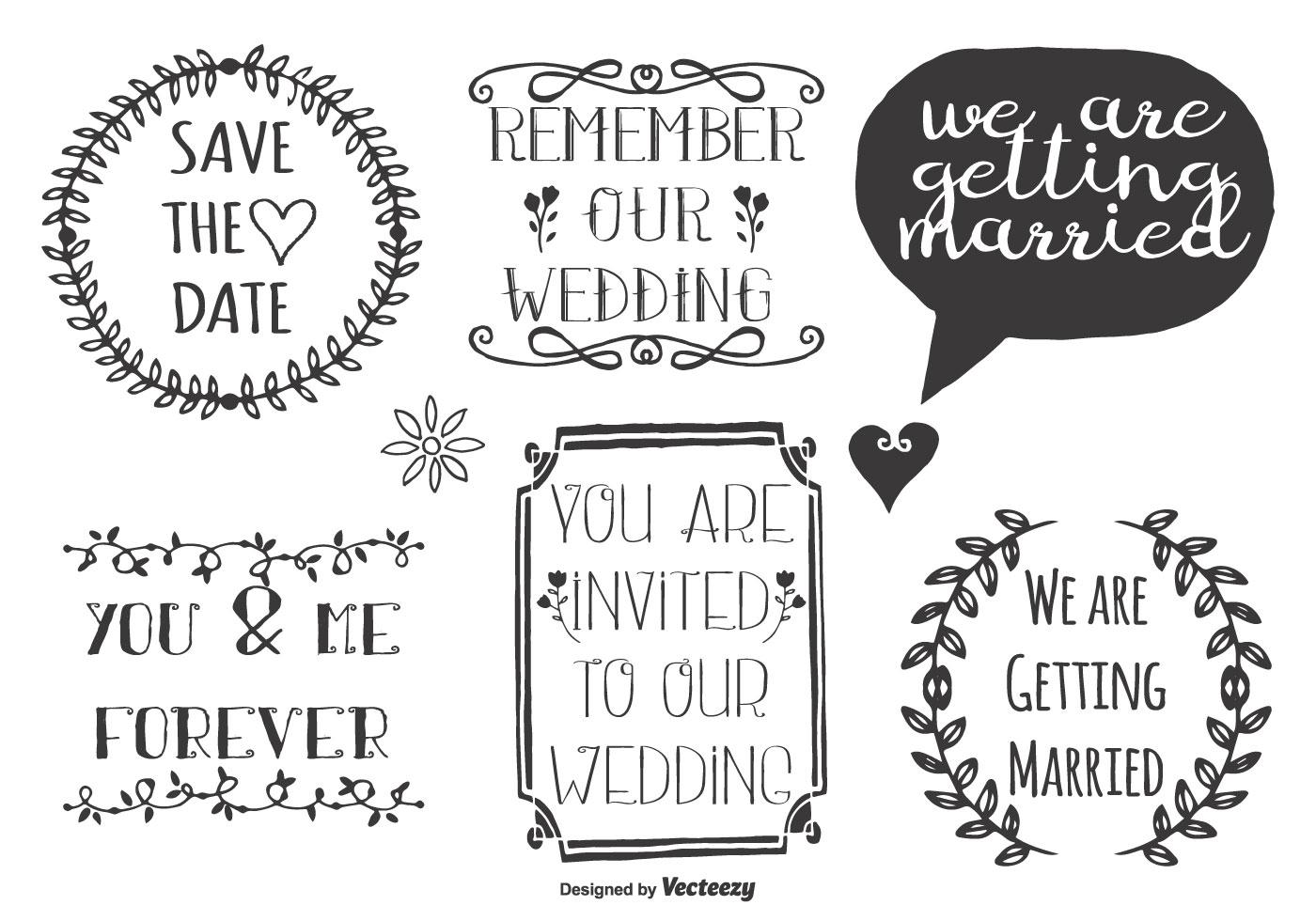 Cute Wedding Doodle Labels