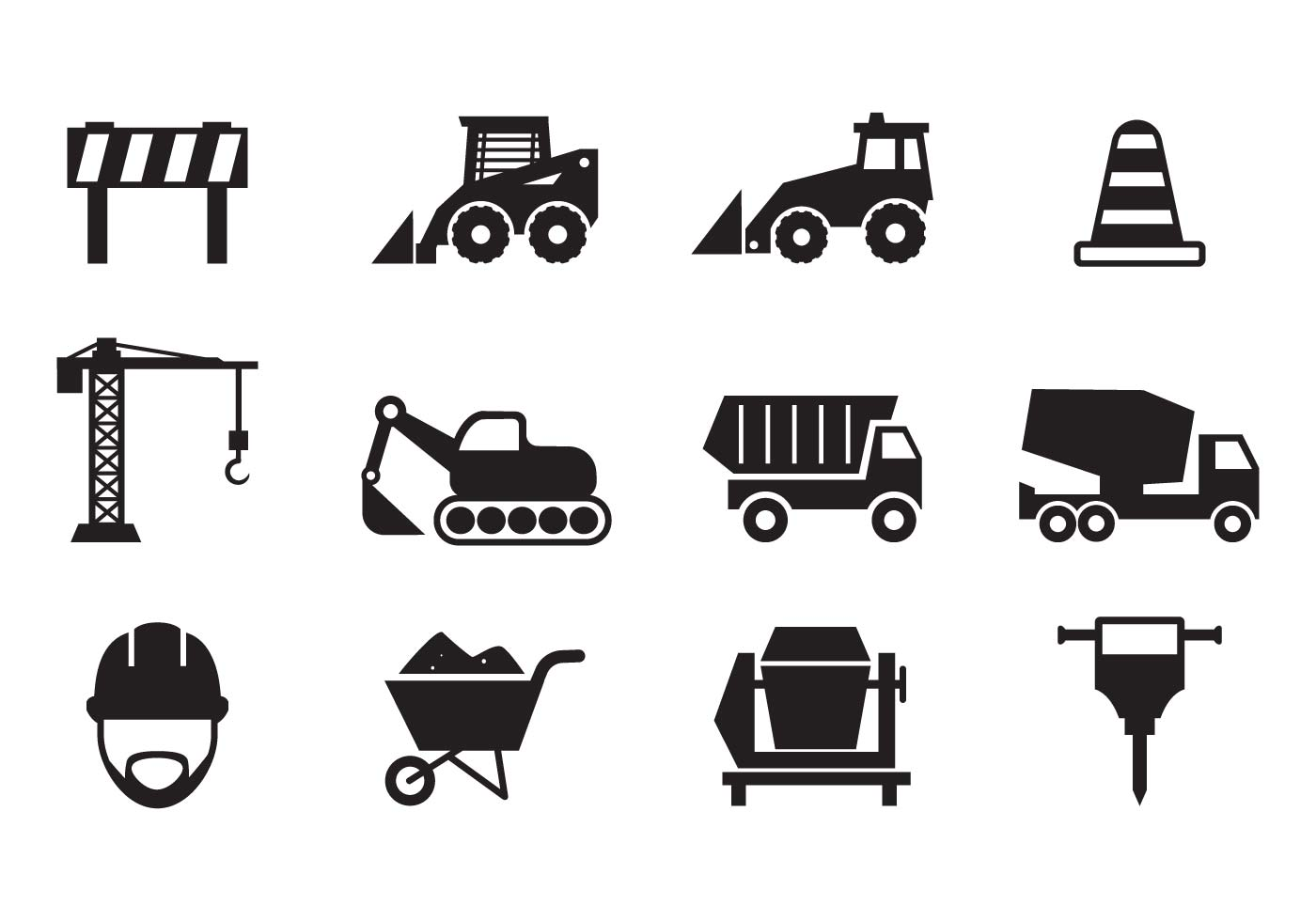 Black Construction Vehicles Icons Set Stock Vector