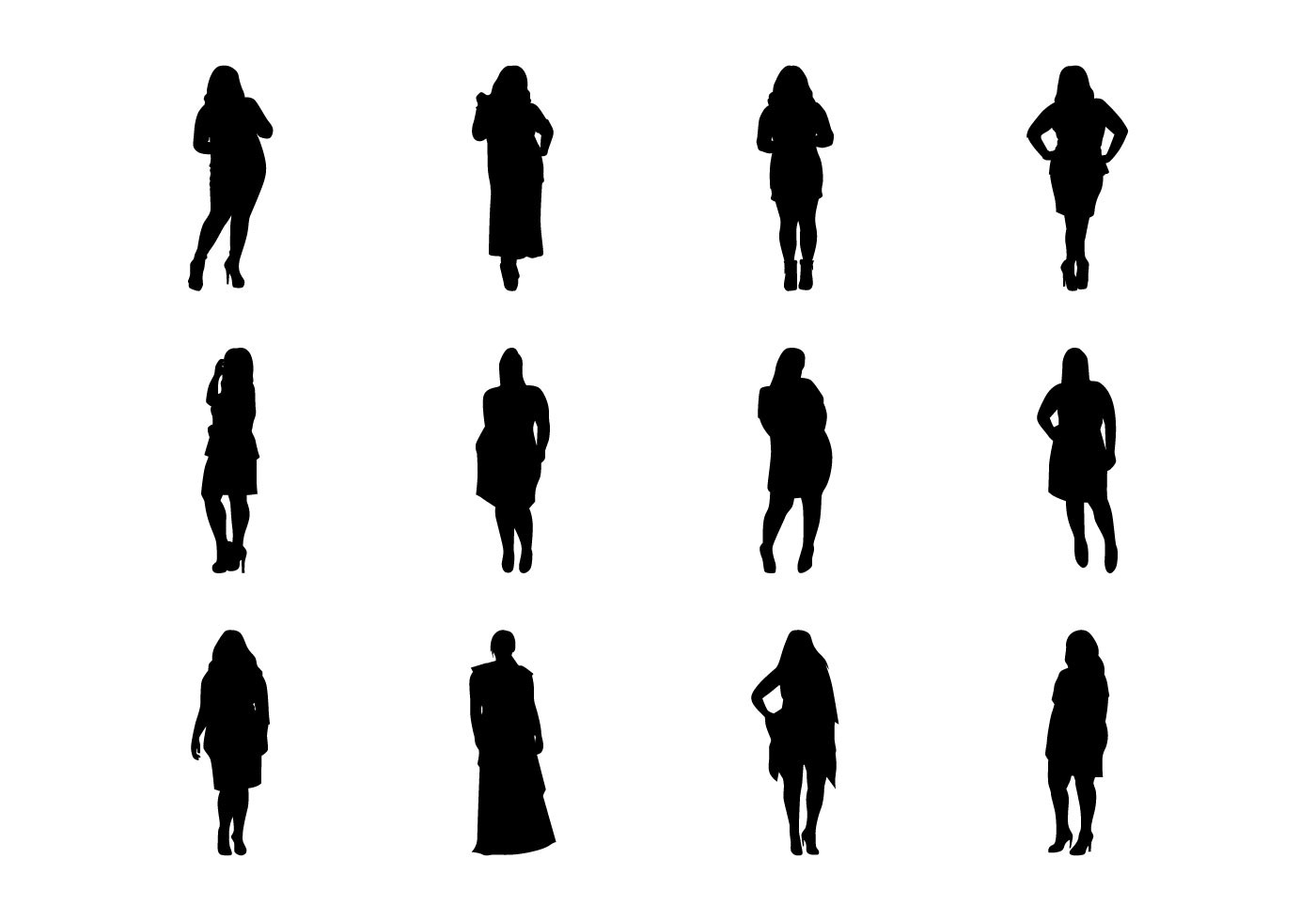 Free Fat Women Silhouette Vector