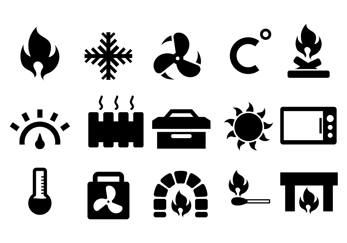 Heater And Heat Icon Vector