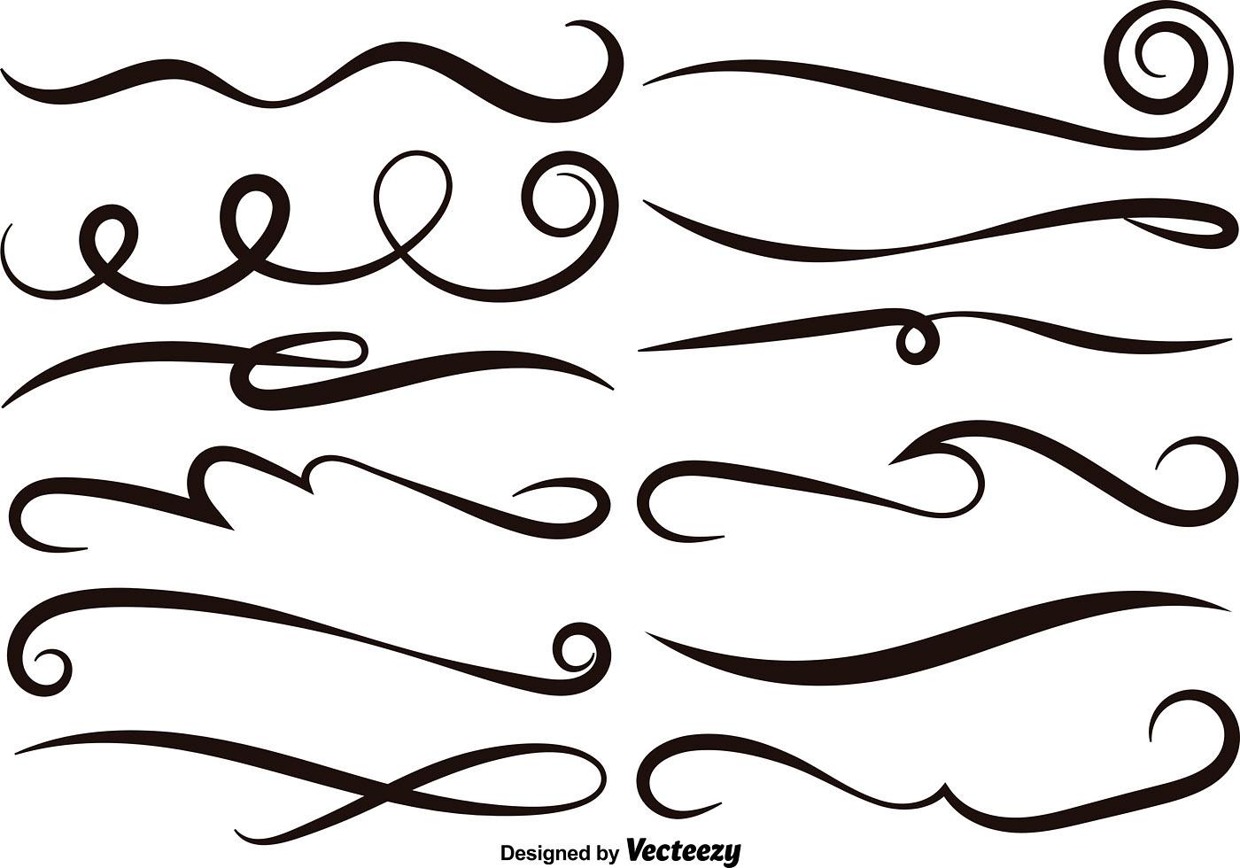 Vector Set Of Black Swishes