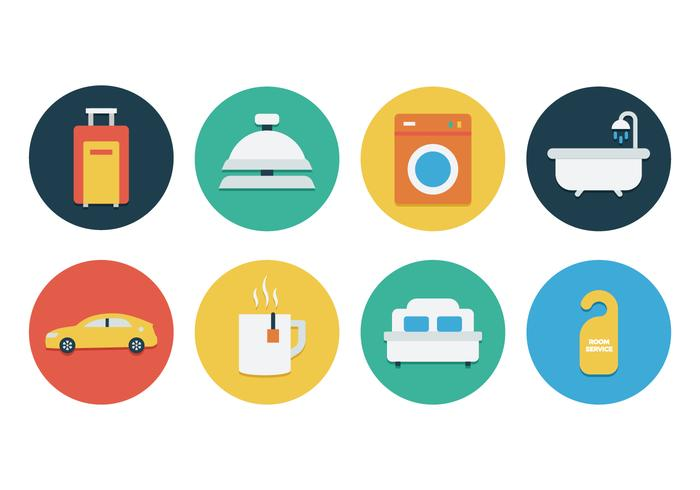 Free Flat Hotel Icon Set Download Free Vector Art Stock