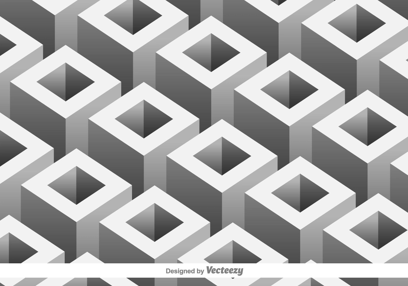 Vector Pattern With 3d Geometric Shapes