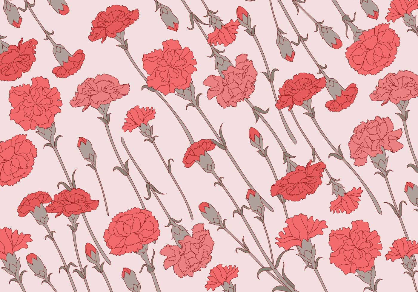 Carnation Pattern Classic Vector Download Free Vector