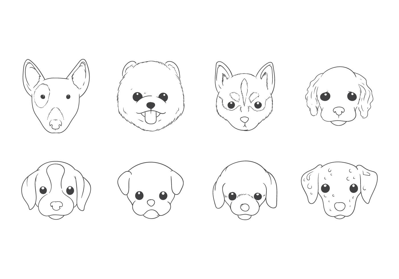 Mano Libre De Dibujo Vector De Cabeza De Perro