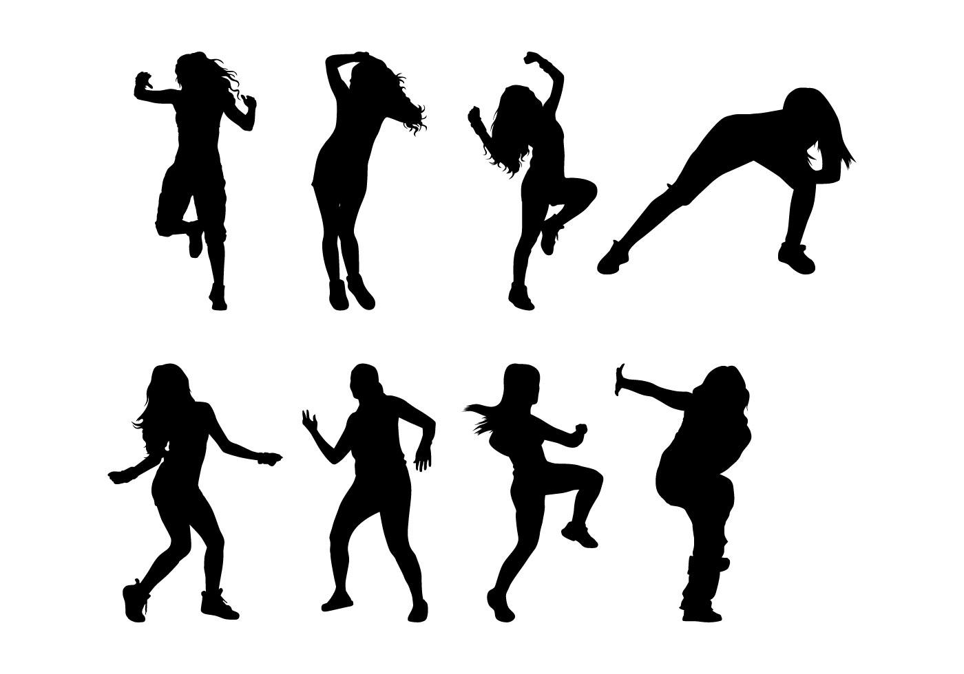 Zumba Libre Siluetas De Danza Vector