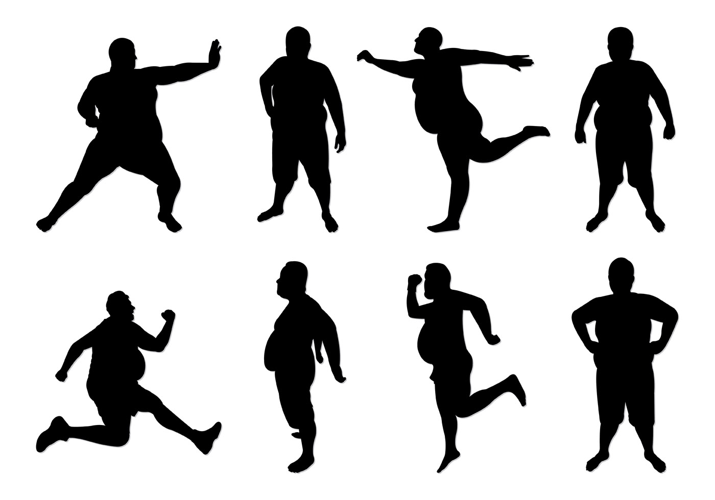 Set Of Fat Guy Silhouettes