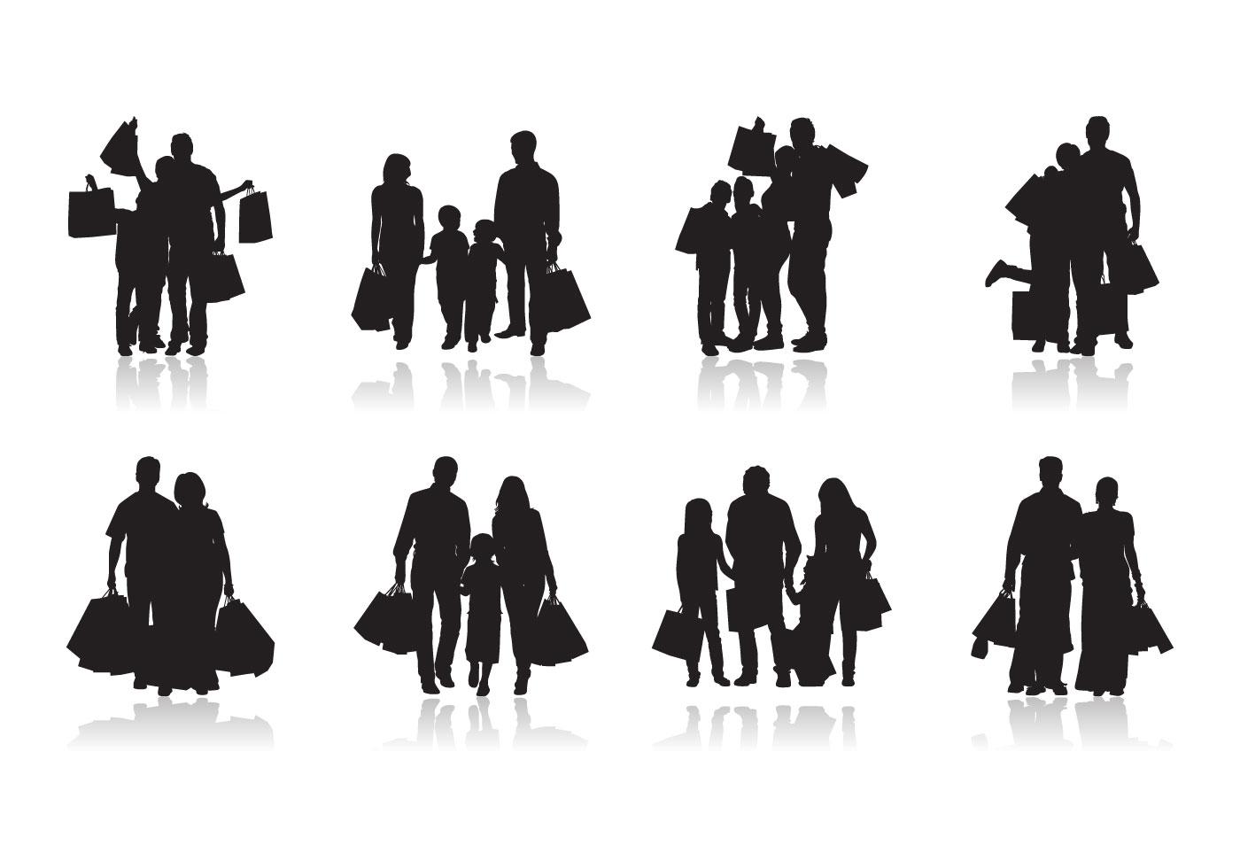 Family Shopping Silhouette Vector